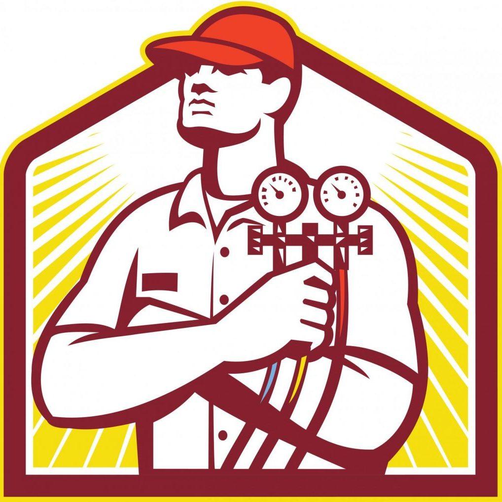HVAC cartoon technician logo